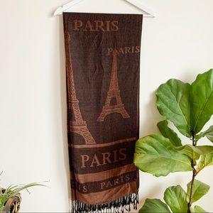 Pashmina Silk Paris Brown Scarf Eiffel Tower
